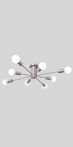 Sputnik Chandeliers 8 Light Brushed Nickel Semi Flush