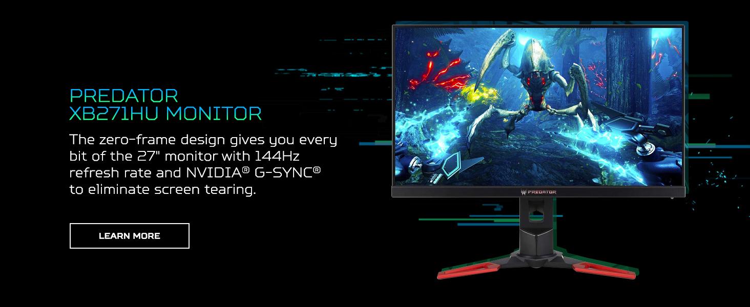 predator XB271HU monitor micro edge bezel screen 27 inch 144hz refresh rate nvidia gsync screen tear
