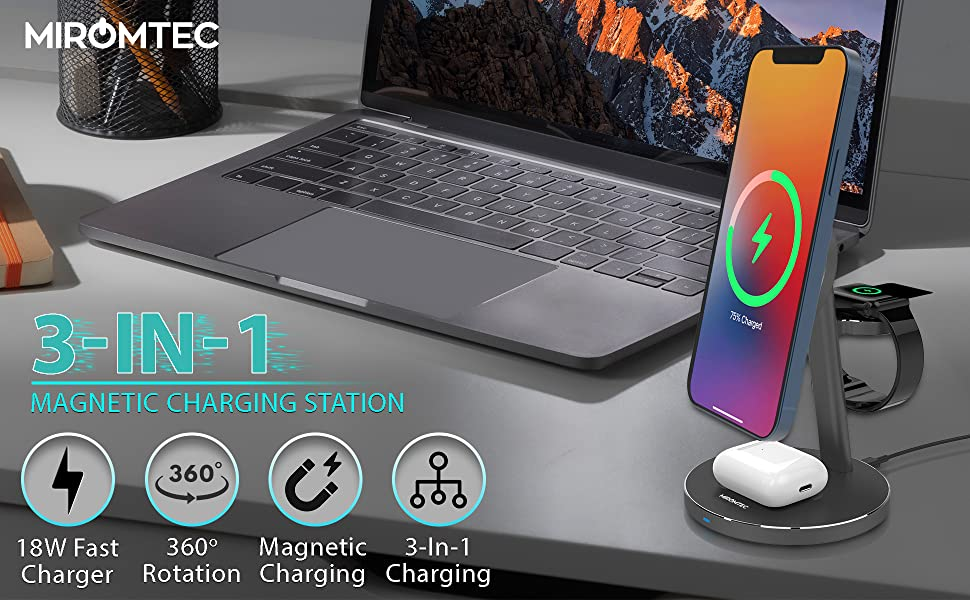 MIROMTEC 3 in 1 Mag Safe wireless charging station for apple products
