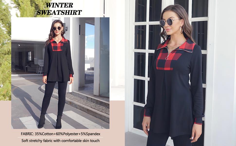 Women's Long Sleeve Quarter-Zip Lapel Tunic Top Plaid Pullover Sweatshirt