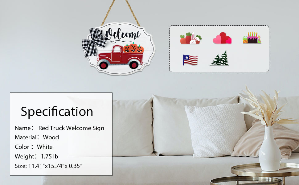 Red Truck Decor Welcome Sign for front door porch decor rustic home decor outdoor welcome home sign