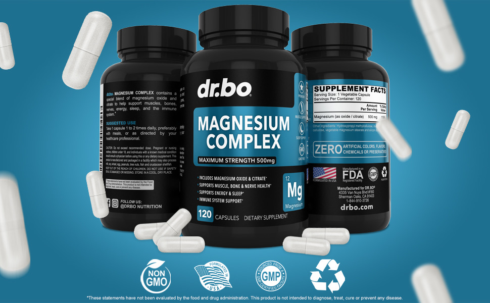 high magnesium 500mg support sleep leg cramps relaxation mag citrate oxide capsules magnesio citrato