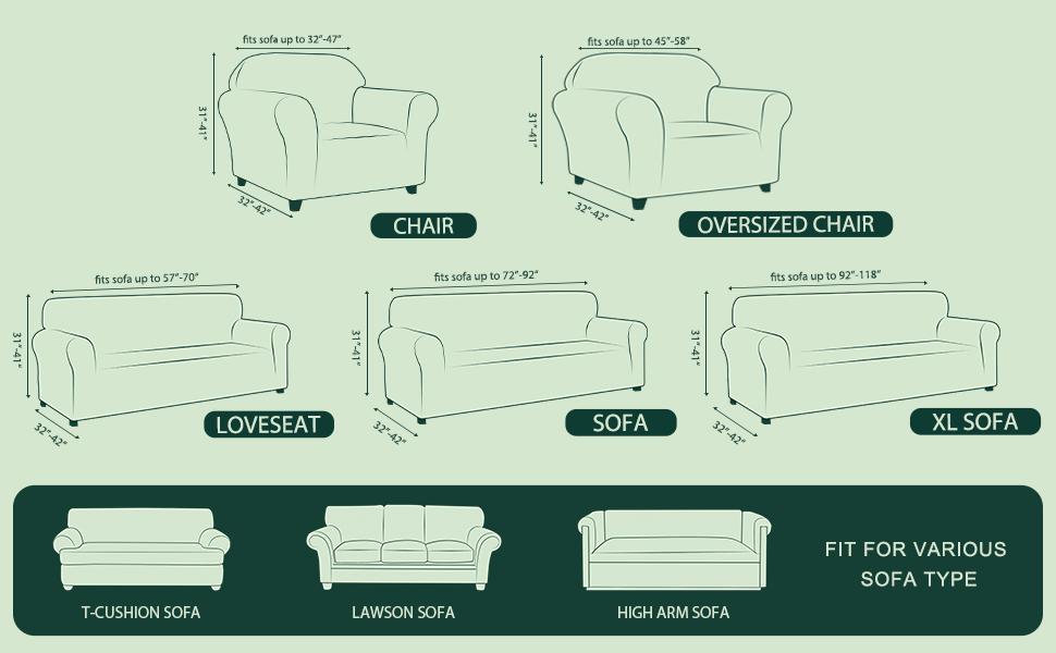sizes of 1 piece sofa slipcover