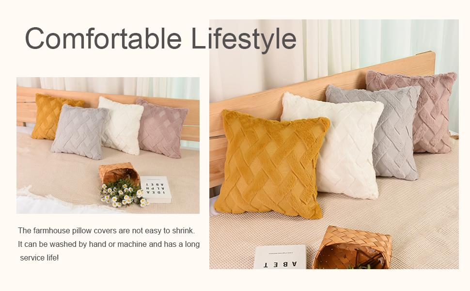 Short Wool Velvet Decorative Pillow Covers,Soft Plush Square Farmhouse Pillow Covers