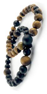 2 bracelets pour homme en pierre naturelle Oeil de Tigre et Onyx noire mattes