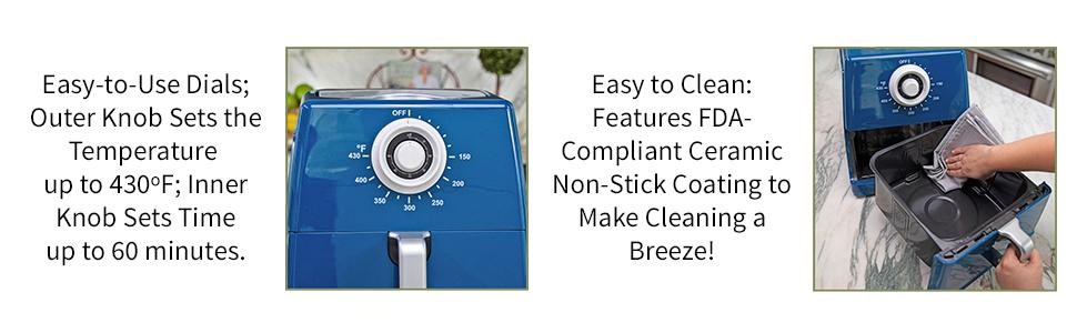 Paula Deen 8.5QT Air Fryer with Easy-to-Use Knobs and Ceramic Non-stick Coating