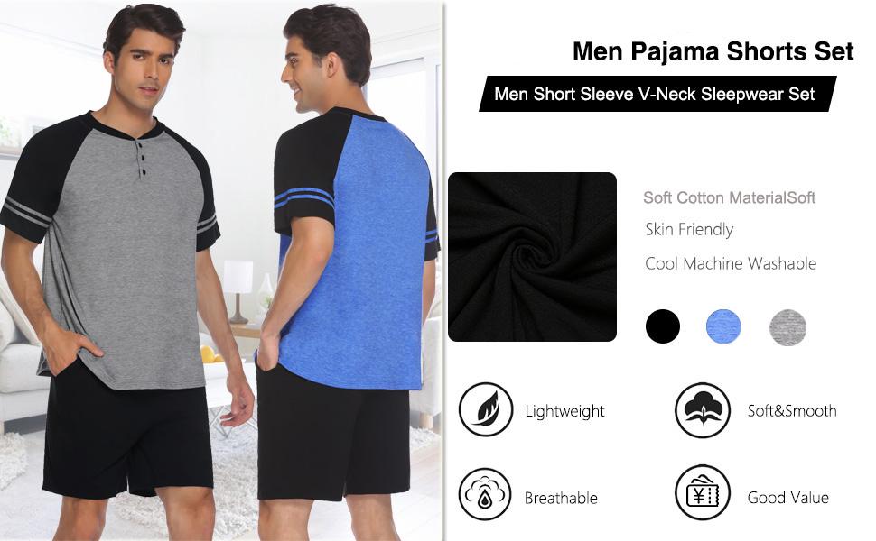 Men pajama shorts set