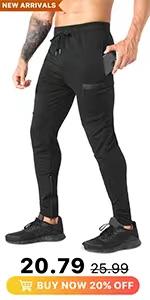 mens zip workout pants