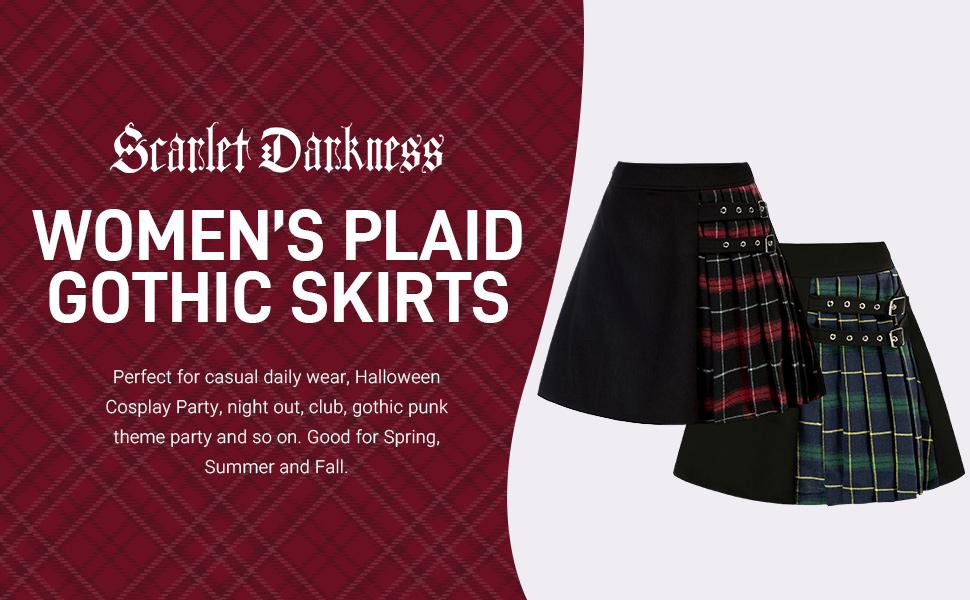 SCARLET DARKNESS Womens Plaid Mini Skirt Casual Elastic Waisted Goth Punk Skirts