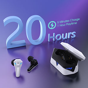 true wireless gaming earbuds, long lasting for 20 hours with charging case