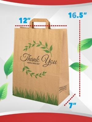 Paper Bag Thank you for Shopping Printed with Rope Handles Brown Strong FREE SH