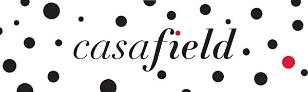 casafield logo, black text, red dot over the i, scattered black polka dots, single red polka dot