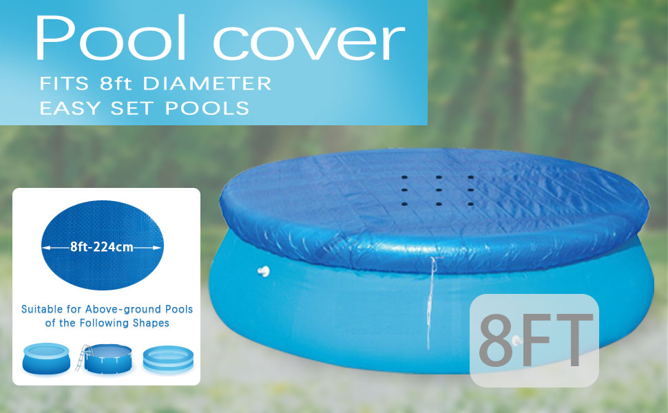 ROOCHKD 8Ft Pool Cover for Easy Set Above Ground Round Inflatable Swimming Pools