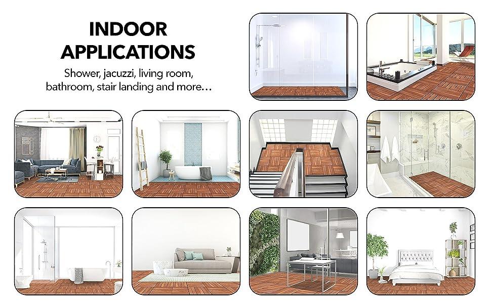 Indoor applications Shower bathroom Jacuzzi living room stair landing