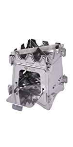 ヨーラー(YOLER) ウッドストーブ 焚き火台 ステンレス製 五徳 風防 専用収納ケース付き YR-PT-W04