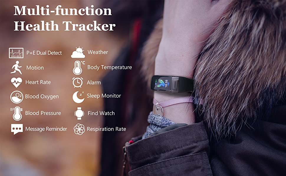 Hamshine smart health tracker for women, with heart rate oxygen blood pressure body temperature ect