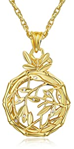 Golden necklace magnifying glass