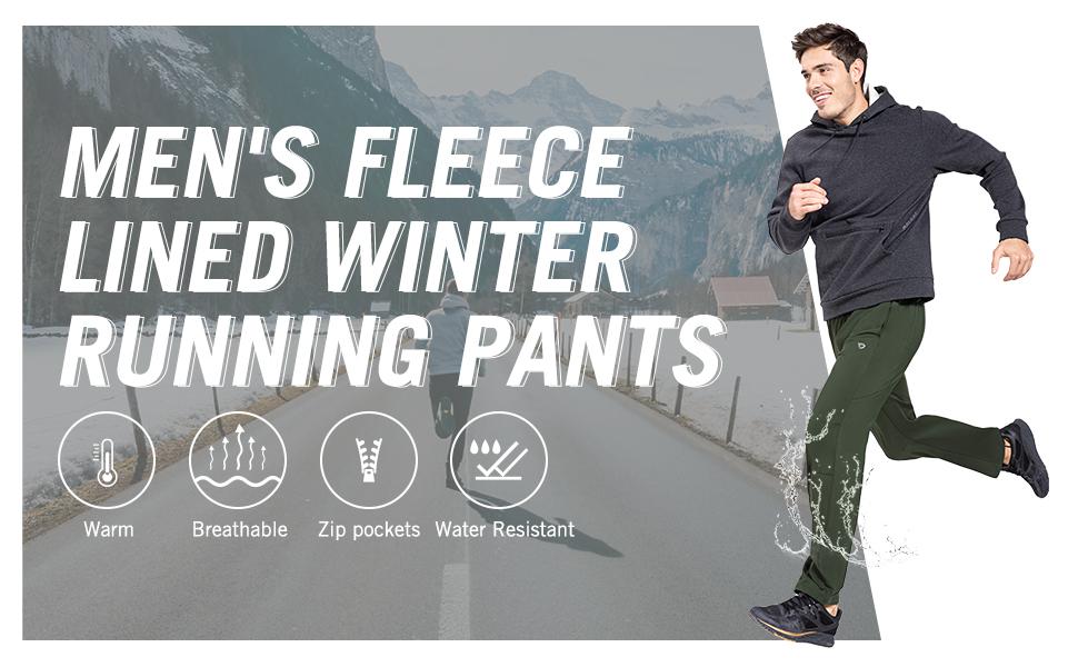 mens fleece lined winter running pants