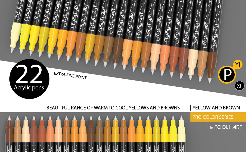 range of dark and light warm and cool yellow and brown colors 22 acrylic paint pens