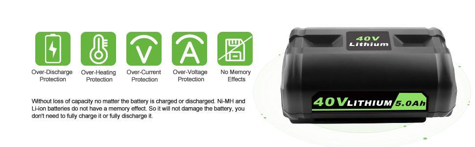 Compatible with Ryobi 40 volt battery OP40261 OP4030 OP40301 OP4040 OP40401 OP4050 OP40501 OP40601