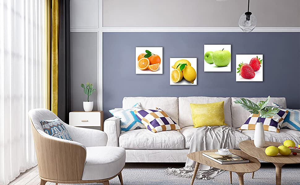 Framed Orange, Apple, Lemon, Strawberry Fruits Design Wall Artwork Paintings, 12x12 Inches Giclee
