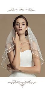 2 Tiers Wedding Veil Elbow Length Short Bridal Hair Accessoies Bride Tulle with Comb and Ribbon Edge