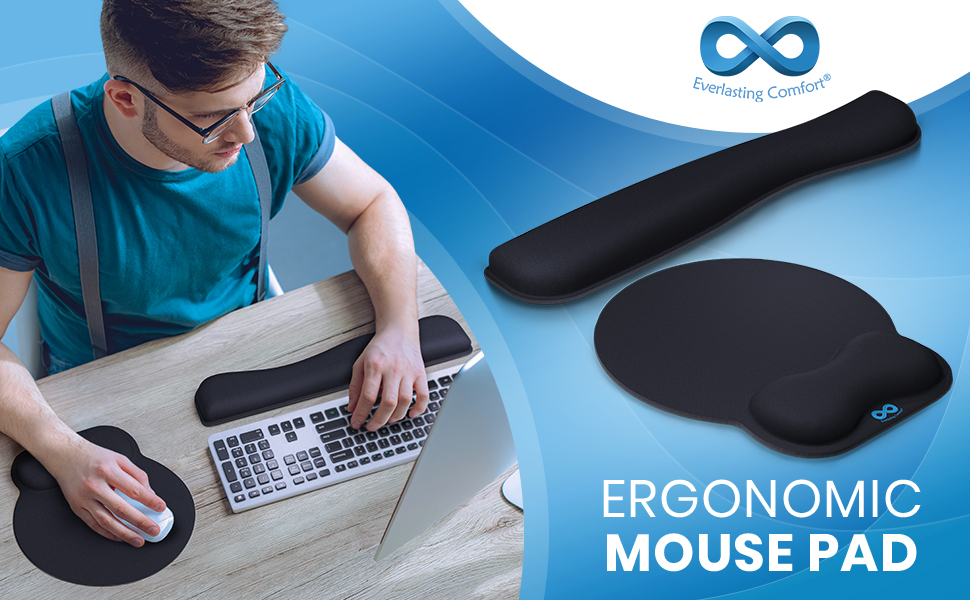 Man sitting at desk using the Everlasting Comfort mouse pad and keyboard with wrist support