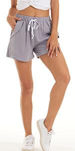 Women Casual Shorts Cotton Linen Beach Elastic Waist Shorts with 4 Pockets