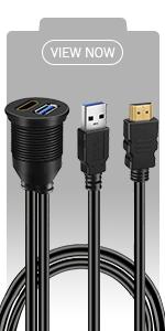 BATIGE - USB 3.0 & HDMI CAR MOUNT FLUSH CABLE view now