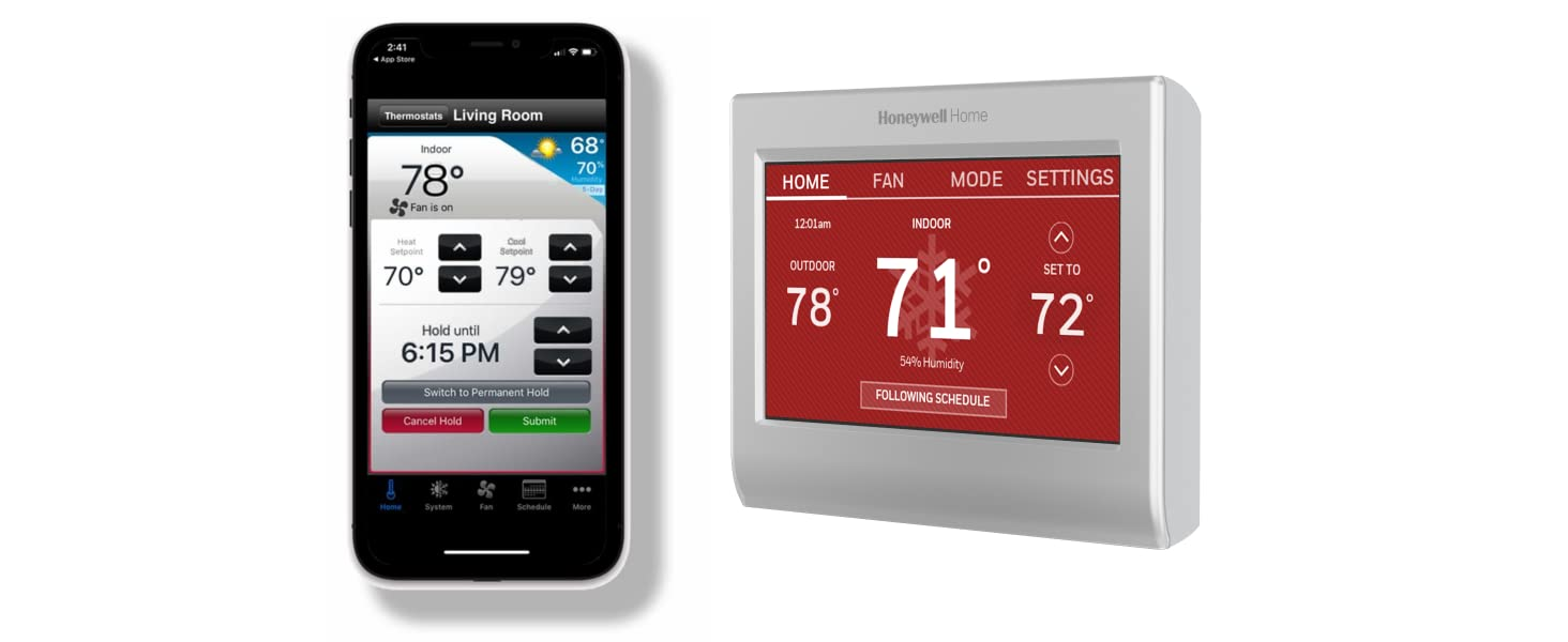 Wifi smart color thermostat and Honeywell total connect app