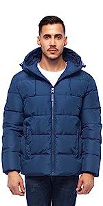 rokka and rolla mens blue heavy puffer jacket winter bubble coat