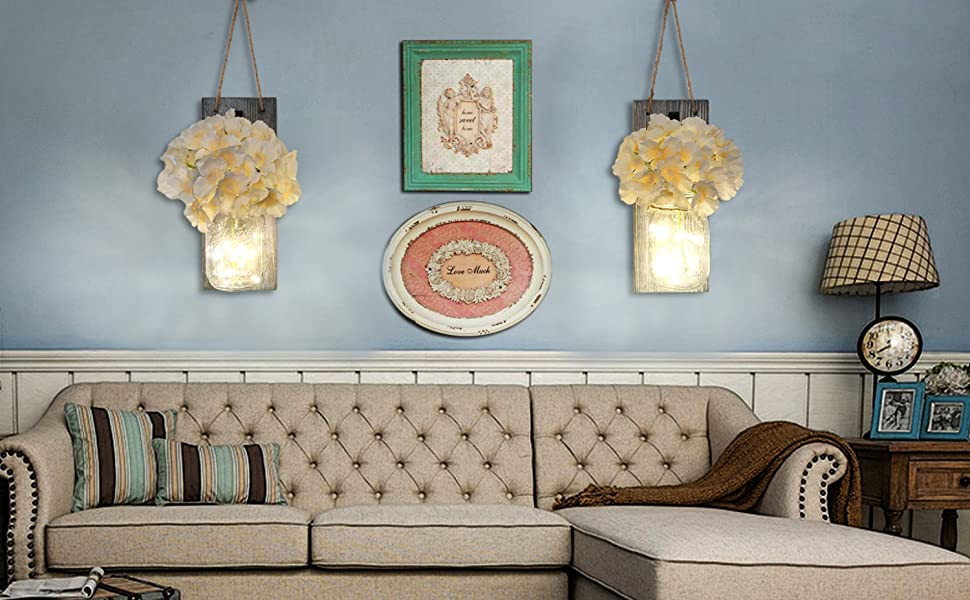 wall decor for bedroom, mason jar hanging decor, mason jar sconces gray, home decor, country decor
