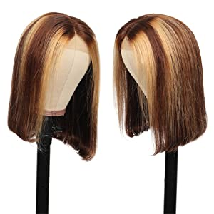 highlight lace front wig human hair colored