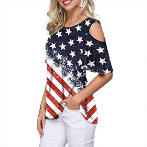 Women Cold Shoulder Patriotic Shirt Stars Stripe American Flag T-Shirt Summer Casual Tee Top