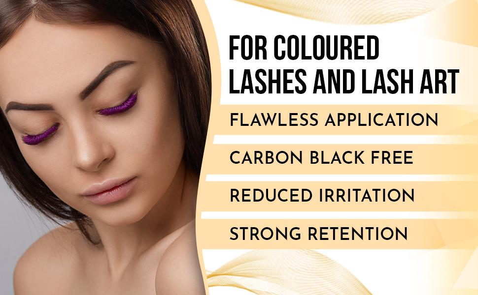 for coloured lashes and lash art, carbon black free