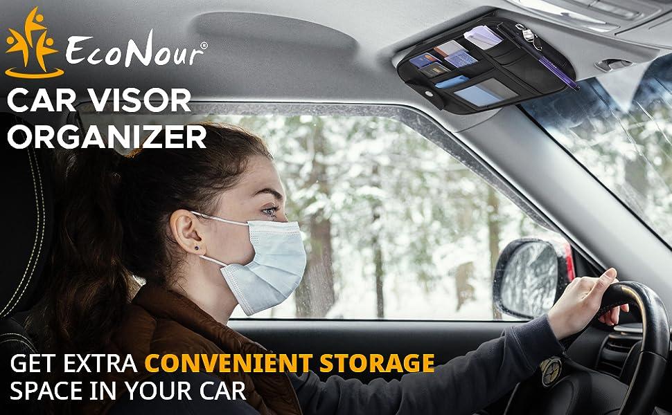 EcoNour Visor Organizer with Multi-pockets extra storage