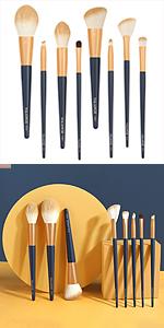 blue makeup brushes