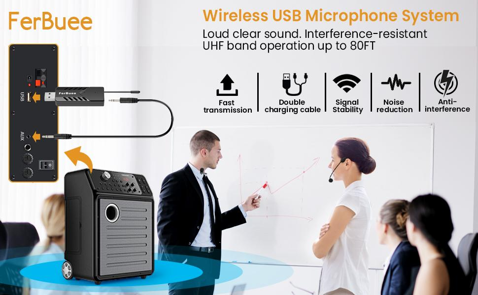 Wireless USB Lapel Microphone for Computer