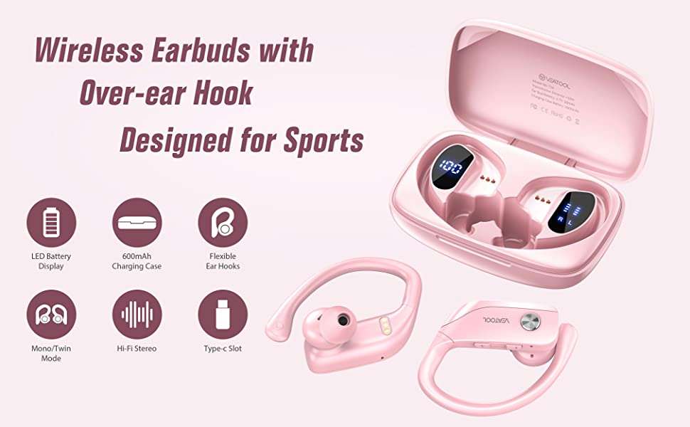 VEATOOL Bluetooth wireless earbuds with dual LED displays