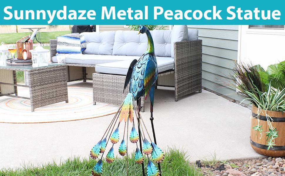Metal Peacock Statue