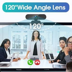 equipped with 120° wide angle lens, which allows you to view more than other webcams