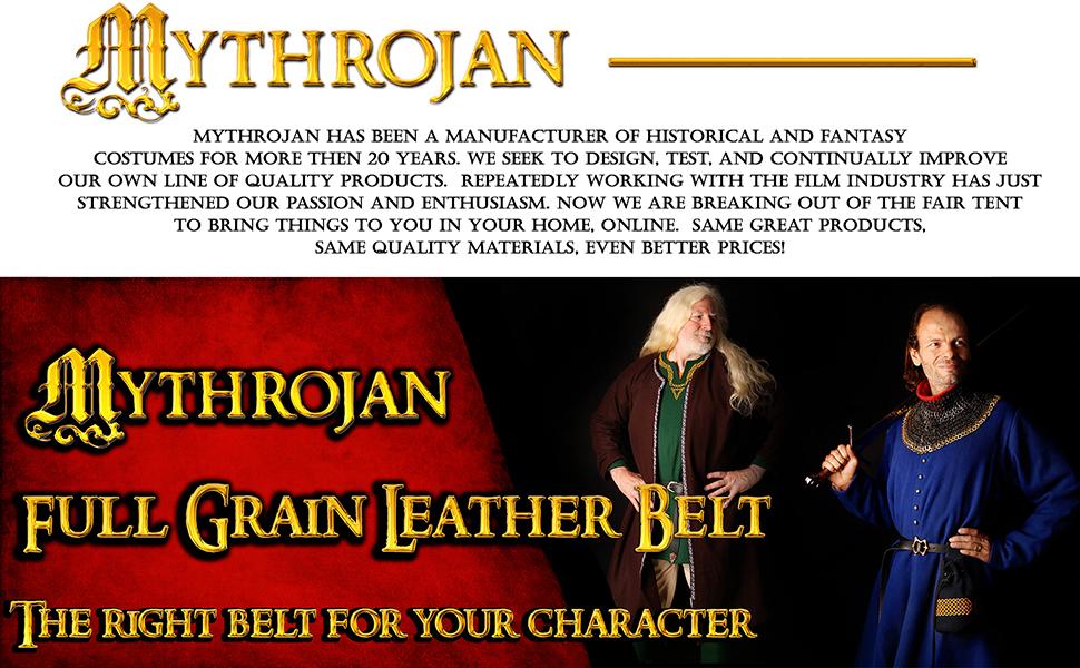 Mythrojan O Ring Medieval Leather Viking Belt LARP SCA warrior Renaissance Fair costume gothic