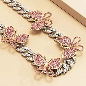 iced out butterfly choker necklace