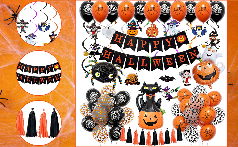 Halloween zwarte pompoen spook spin ballonnen