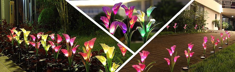 Solar garden flower lights