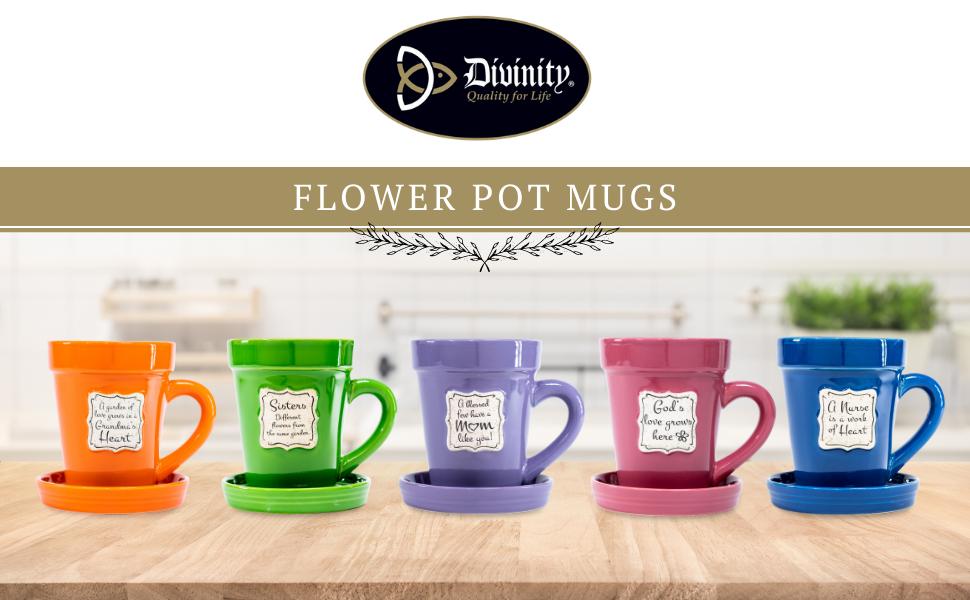 divinity flower pot mugs