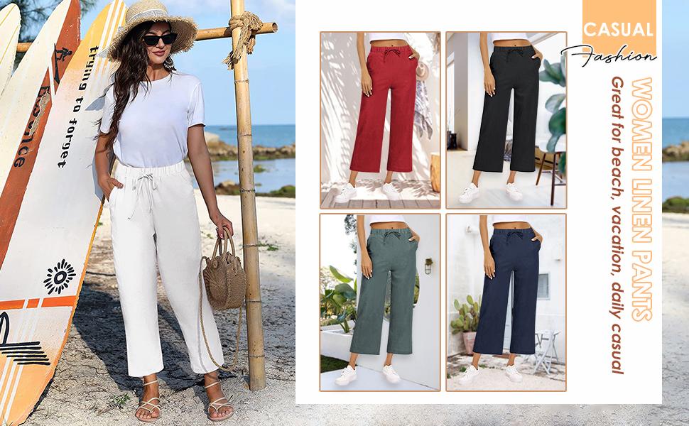 women loose linen beach pants