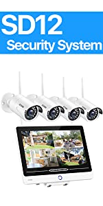 SD12 WiFi Security Cameras System with 12inch LCD screen