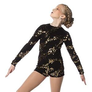 gold sequin lace biketard long sleeve dance cheer