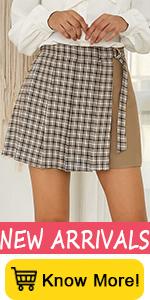 Kate Kasin Women Elastic High Waist Contrast Color Plaid Pleated School Mini Skirt with Wrap Belt